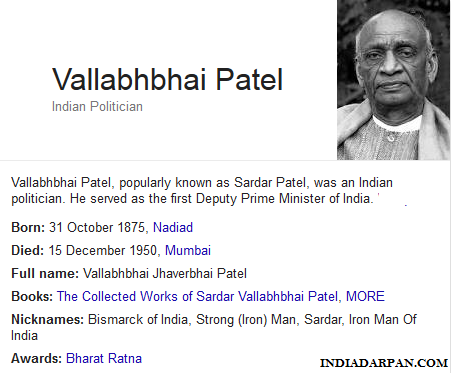 Sardar Vallabhbhai Patel Biography , Achievements